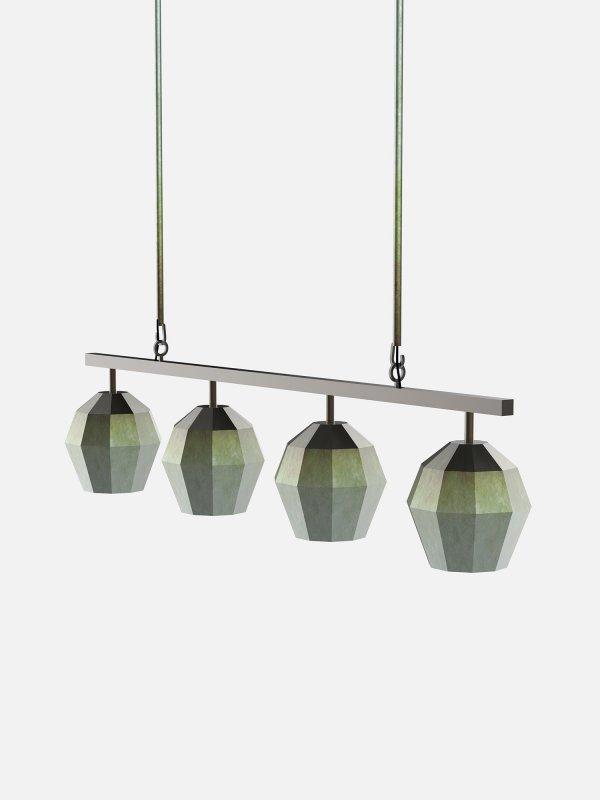 Suspension 4 luminaires à facettes