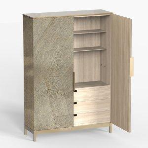 Armoire en laiton texturé bois