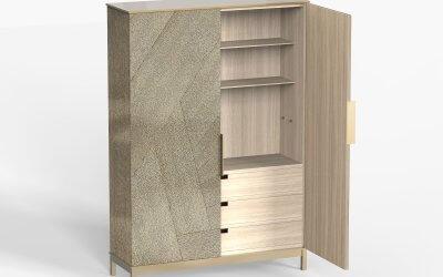 Armoire laiton texturé bois