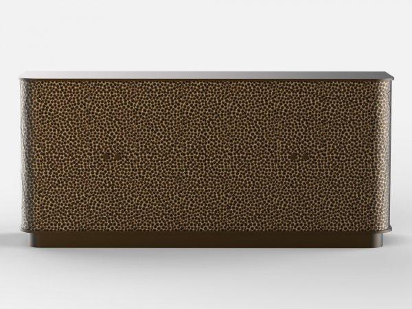 Console en laiton martelé et patiné bronze